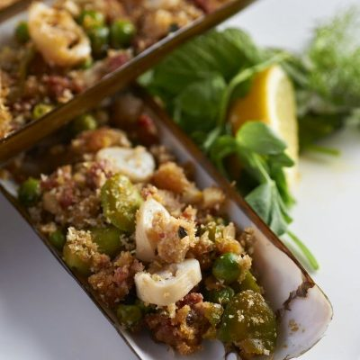 Crab House Cafe - Razor Clams with broad beans and chorizo crumb.